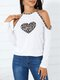 Leopard Print Patchwork Off Shoulder Casual Blouse For Women - White