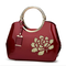 Fashion New Embroidery Flower Bright Patent Leather Shell Ladies Handbag  - Wine Red