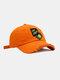 ユニセックスコットンブロークンホールレター漫画スマイルフェイス刺繡布ラベルオールマッチ日焼け止め野球帽 - オレンジ