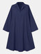 Solid Color Loose Lapel Long Sleeve Casual Dress For Women - Navy