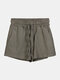 Women Pure Cotton Linen Drawstring Shorts With Pockets Breathable Outdoors Home Loungewear Bottoms - Army