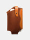 Men EDC Genuine Leather Cow Leather Patchwork Phone Bag Waist Bag - Brown