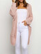 Solid Color Long Sleeve Losse Knit Cardigan For Women - Pink