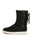Women Back Cross Strap Lace-up Warm Casual Flat Mid-calf Boots - Black
