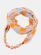Vintage Chiffon Women Scarf Necklace Beaded Pendant Lattice Flowers Pattern Silk Scarf - #17