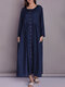 Solid Color Button Pocket Long Sleeve Casual Dress for Women - Navy