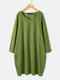 Solid Color Plain Pocket V-neck Long Sleeve Casual Dress for Women - Green