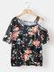 Calico Print Off Shoulder Short Sleeve Plus Size Casual T-shirt - Black