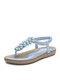 Women Rhinestone Casual Comfortable Flat T-Strap Sandals - Blue
