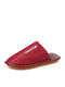 Women Casual Solid Color Letter Pattern Closed Toe Warm Home Shoes - Red