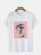 Mens Cool David Statue Graphic Funny Short Sleeve T-Shirts - White