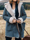 Lapel Plush Solid Color Long Sleeve Casual Coat For Women - Blue