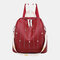 Women Star Rivet Waterproof Multi-carry Handbag Shoulder Bag Backpack - Red