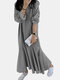 Solid Color Ruffle Hem Long Sleeve Casual Dress for Women - Gray