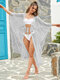 Women Pure Color See Through Lace Up Sun Protection Cover Up Swimwear - Silver