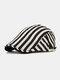 Men Cotton Linen Contrast Color Striped Pattern Retro Forward Hat Beret - Beige