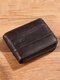Men RFID Genuine Leather Cow Leather Multi-function Card Slot Wallet - Coffee