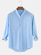 Mens Cotton & Linen Solid Color Thin Casual Long Sleeve Shirts With Pocket - Blue
