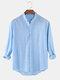 Chemises à manches longues décontractées minces de couleur unie pour hommes en coton et lin avec poche - bleu