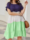 Color Contrast Ruffle Trim Plus Size Tiered Layer Dress - Green