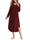 Asymmetrical Loose Long Sleeve Solid Color Dress - Wine Red