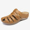 LOSTISY Hollow Out Closed Toe Casual Wedges Backless Sandals - Camel