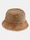 Women & Men Felt Lamb Fur Tie-dye Plus Thicken Warm Windproof Soft Bucket Hat - Coffee