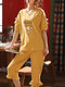 Plus Size Women Cotton Ruffle Trims Cartoon Printed Pajama Sets With Cropped Pants - Yellow