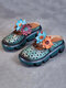 Socofy Retro Ethnic Flower Decor Hollow Out Comfy Slip On Closed Toe Platform Sandals - Green