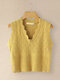 Solid Color V-neck Sleeveless Knit Sweater For Women - Yellow