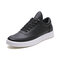 Men Lace-up Pure Color Round Toe Hard Wearing White Sneakers - Black