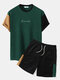 Plus Size Mens Letter Knitted Stitching Drawstring T-Shirt & Shorts Casual Co-ords - Green