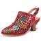 SOCOFY Sandales à talons hauts à bout pointu et à boucle florale en cuir vieilli - rouge
