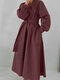 Solid Color Waistband Button Long Sleeve Casual Dress for Women - Wine Red