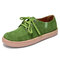 Women Solid Color Soft Suede Comfy Wearable Lace-up Flats - Green