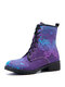Plus Size Women Casual Butterfly Printing Lace Up Flat Combat Boots - Purple