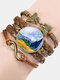 Vintage Painting Crystal Bracelet Hand-Woven Butterfly Infinity Symbol Men Women Multi-Layer Leather Bracelet - #11