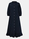Solid Color Button Ruffled Neck Hem Long Sleeve Casual Dress For Women - Navy
