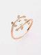 Vintage Diamond Leaf Cross Opening Metal Artificial Gemstone Rings - Rose Gold