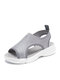 Women Rhinestone Decor Knitted Fabric Comfortable Breathable Casual Platform Sports Sandals - Gray