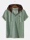 Mens Corduroy Coconut Tree Pattern Short Sleeve Drawstring Hooded T-Shirt - Green