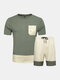 Men Two Pieces Colorblock Tracksuit Breathable Workout Loungewear Set Home Clothing - Army Green
