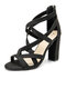 Large Size Women Fashion Solid Color Cross Straps Back Zipper Chunky Heel Sandals - Black
