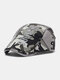 Men Cotton Patchwork Letter Pattern Embroidery M Cloth Label Casual Camouflage Berets - #03