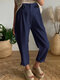 Solid Color Button Elastic Waist Casual Pants For Women - Navy