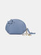 Women Genuine Leather Cute Animal Cat Pattern Mini Hanging Coin Bag Keychain Wallet Storage Bag - Blue
