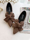 Women Casual Elegant Bowknot Suede Pointed Toe Slip On Lightweight Flat Shoes - Brown