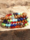 Vintage Bohemian Colorful Beaded Religious Buddha Statue Alloy Wooden Beads Stone Beads Multi-layer Bracelet - #01