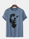 Mens Abstract Portrait Pattern Short Sleeve Loose T-Shirt - Blue