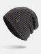 पुरुषों की शीतकालीन Plus मखमली प्लेड पैटर्न आउटडोर लंबी बुना हुआ गर्म बेनी टोपी - काली